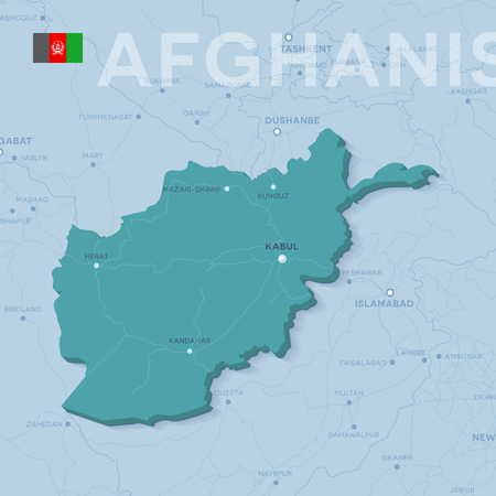 Vector Map of cities and roads in Afghanistan.