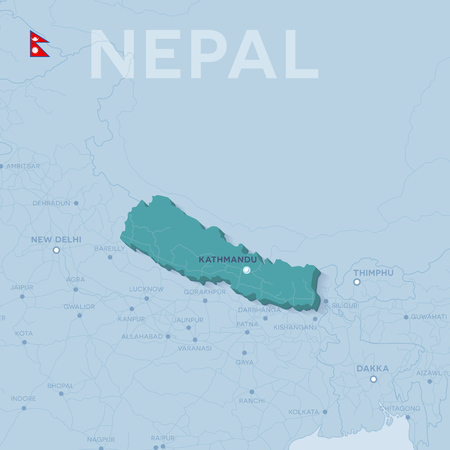 3d vector map of cities and roads in Asia. Nepal and its neighbors.