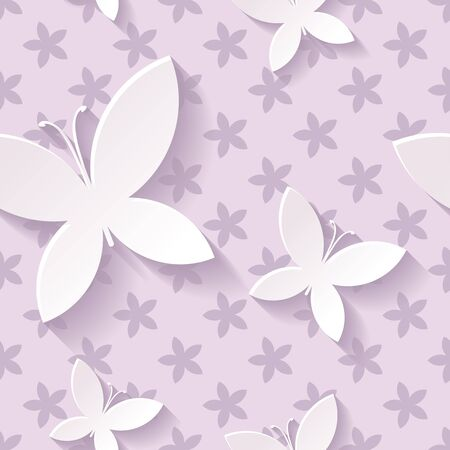 Beautiful background seamless pattern purple with white blossoming butterflies. Nature modern wallpaper. Rasterized copy. 스톡 콘텐츠