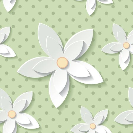 Beautiful background seamless pattern green with white blossoming flower. Floral modern wallpaper. Rasterized copy.