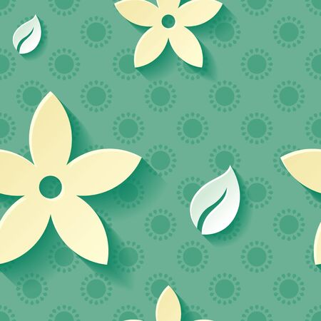 Beautiful background seamless pattern green with yellow blossoming flower and white leaf. Floral modern wallpaper. Rasterized copy.
