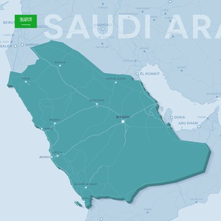 3d verctor map of cities and roads in Asia. Saudi Arabia and its neighbors.