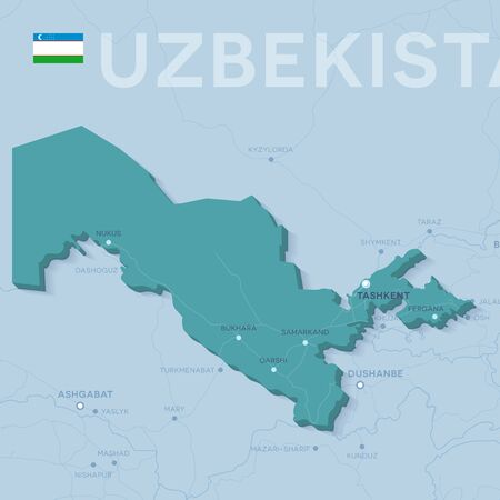 3d verctor map of cities and roads in Asia. Uzbekistan and its neighbors.