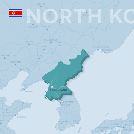 3d verctor map of cities and roads in Asia. North Korea and its neighbors.