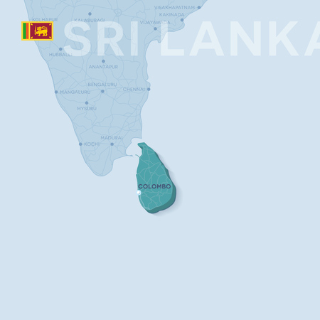 3d verctor map of cities and roads in Asia. Sri Lanka and its neighbors. Illustration