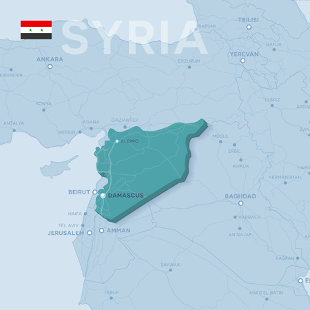 3d verctor map of cities and roads in Asia. Syria and its neighbors.