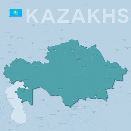 Verctor Map of cities and roads in Kazakhstan.