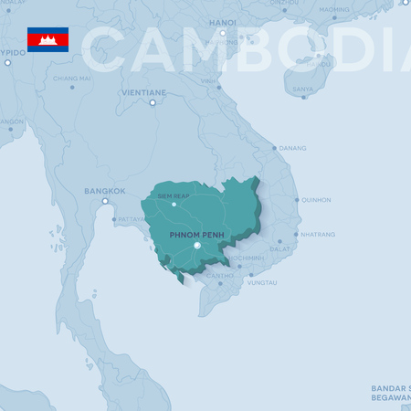 Verctor Map of cities and roads in Cambodia.