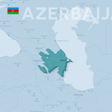 Verctor Map of cities and roads in Azerbaijan.