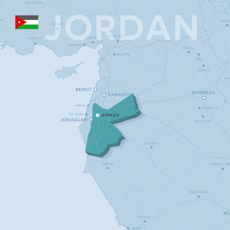 Verctor Map of cities and roads in Jordan. Illustration