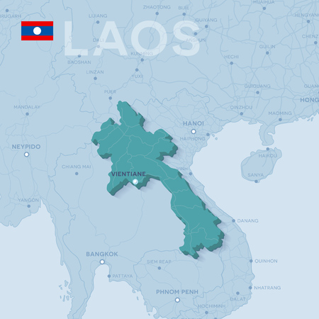 Verctor Map of cities and roads in Laos.