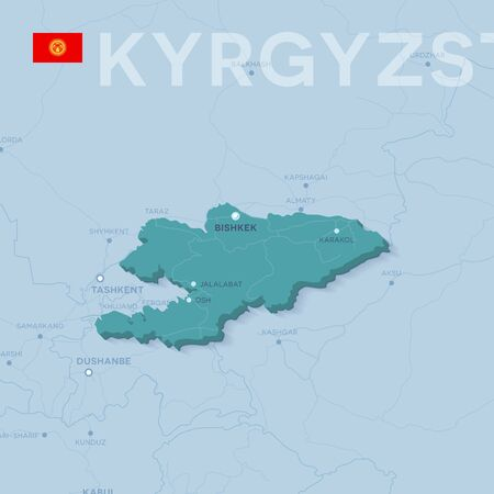 Verctor Map of cities and roads in Kyrgyzstan.