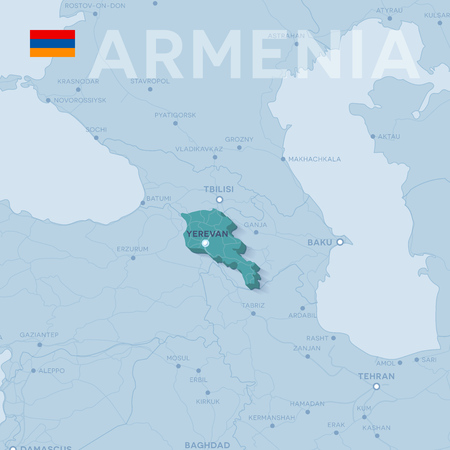 A Vector Map of cities and roads in Armenia. 일러스트