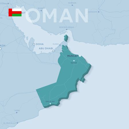 Map of cities and roads in Oman Vector illustration. 일러스트
