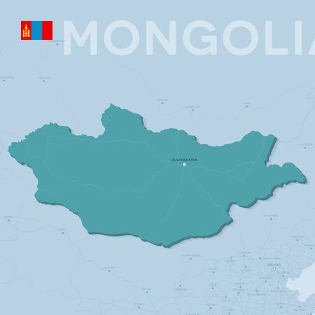 Map of cities and roads in Mongolia Vector illustration. Stock Illustratie