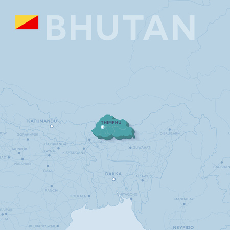 Map of cities and roads in Bhutan Vector illustration. Illustration