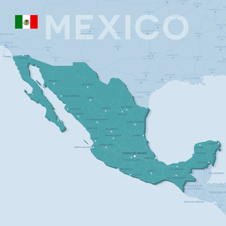 Verctor Map of cities and roads in Mexico. Illustration