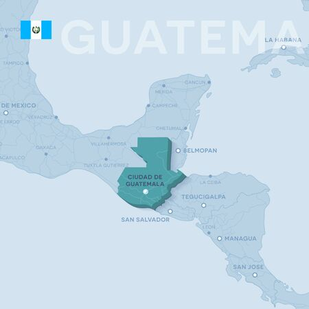 Vector Map of cities and roads in Guatemala illustration. Illustration