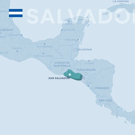 Salvador Map of cities and roads in a blue color