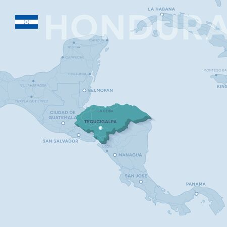 Hondura Map of cities and roads in a blue color