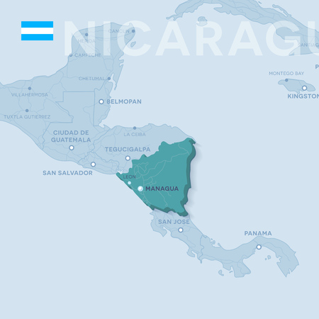 Verctor Map of cities and roads in Nicaragua.