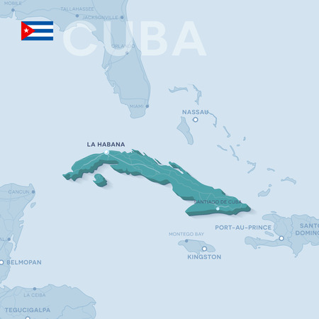 Vector Map of cities and roads in Cuba isolated on light background.
