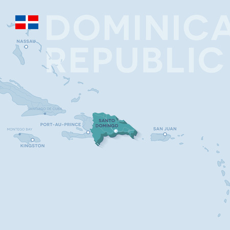 Vector Map of cities and roads in Dominican Republic isolated on light background.