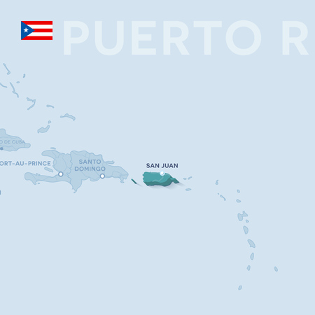 Vector Map of cities and roads in Puerto Rico  isolated on light background. Illustration