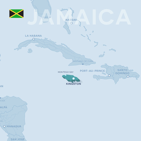 A Vector Map of cities and roads in Jamaica isolated on light background.