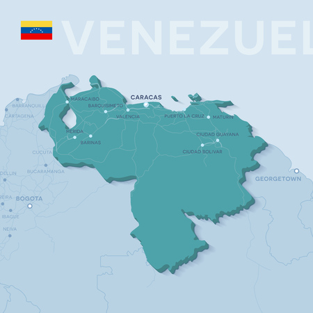 Verctor Map of cities and roads in Venezuela. 일러스트