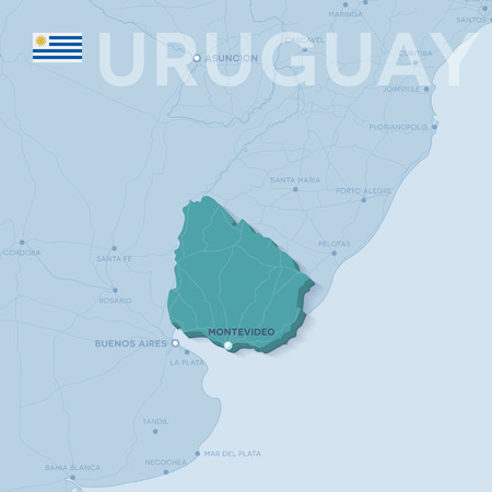 Verctor Map of cities and roads in Uruguay. 일러스트