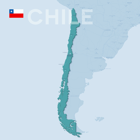 Verctor Map of cities and roads in Chile.