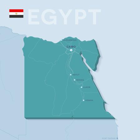 Mappa verctor 3d di città e strade in Africa. Egitto e i suoi vicini. Vettoriali