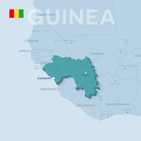 3d verctor map of cities and roads in Africa. Guinea and its neighbors.