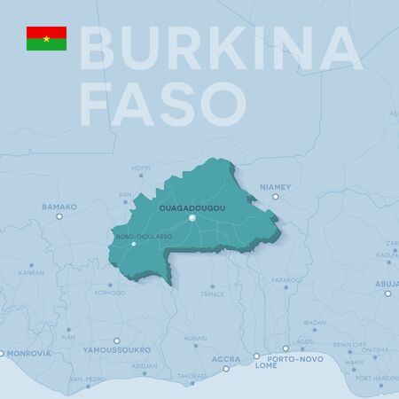 Verctor Map of cities and roads in Burkina Faso. 스톡 콘텐츠