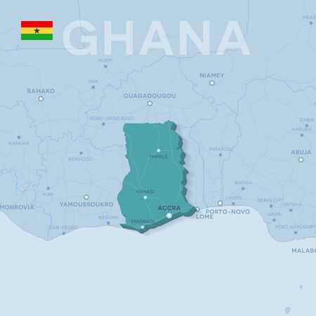 Verctor Map of cities and roads in Ghana.