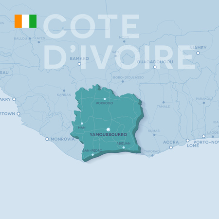 3d verctor map of cities and roads in Africa. Cote dIvoire and its neighbors. Illustration