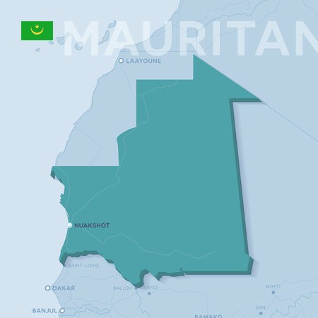 3d verctor map of cities and roads in Africa. Mauritania and its neighbors.
