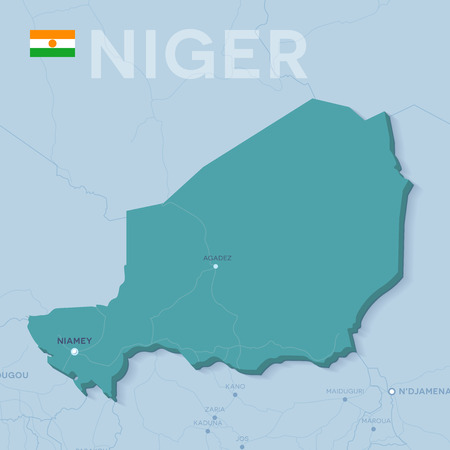 3d verctor map of cities and roads in Africa. Niger and its neighbors.
