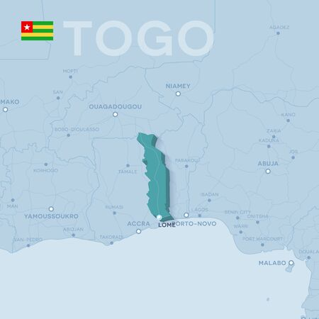 Verctor Map of cities and roads in Togo.