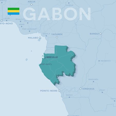 Verctor Map of cities and roads in Gabon. 일러스트