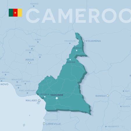 Verctor Map of cities and roads in Cameroon.