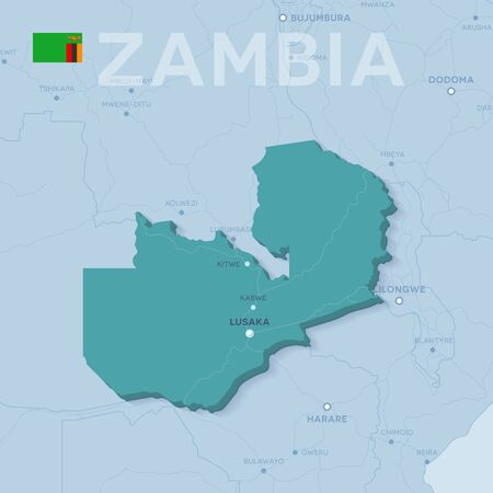 Verctor Map of cities and roads in Zambia. 일러스트