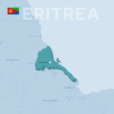 3d verctor map of cities and roads in Africa. Eritrea and its neighbors.