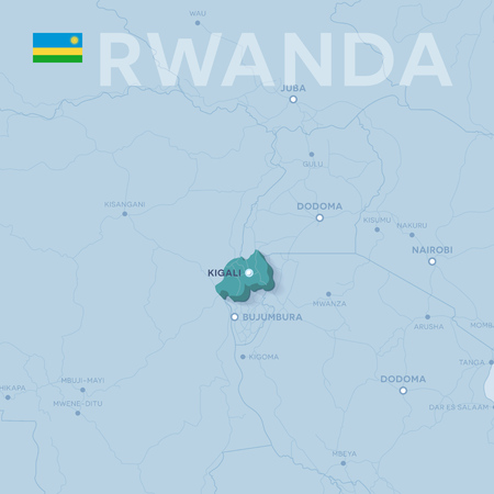 3d verctor map of cities and roads in Africa. Rwanda and its neighbors.