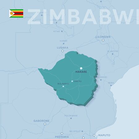 Verctor Map of cities and roads in Zimbabwe.