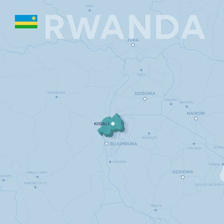 Verctor Map of cities and roads in Rwanda.