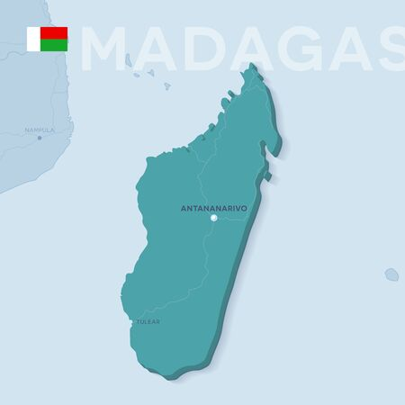 Verctor Map of cities and roads in Madagascar.