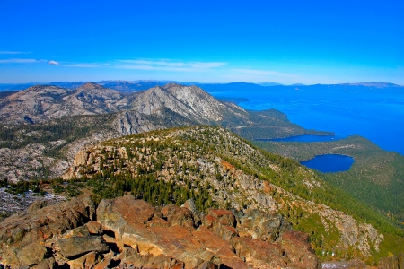The aerial view of lake Tahoe from the summit of Tallac mountain photo