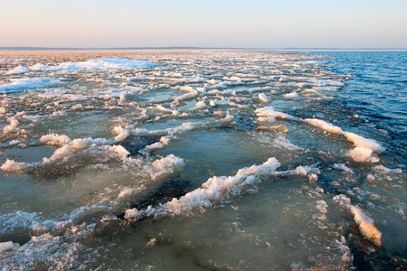 slushy: Slushy ice in spring on Ladoga Lake, Russia.  Stock Photo
